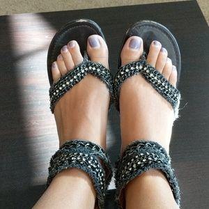 Paprika Shoes - Black denim sandals with studs